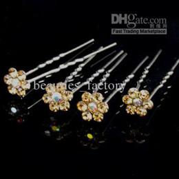 $enCountryForm.capitalKeyWord Canada - 20 Pcs Gold Crystal RHINESTONE Wedding Bridal Prom Hairpins U shaped Hair Pins Pin