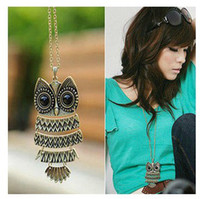 Wholesale Silver Owl Necklace Sweater Chain - Hot Selling New Fashion Womens Lady Owl Pendant Necklace Long Sweater Chain Gold And Silver