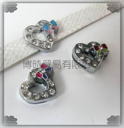 Wholesale Dog Collar Heart Charms - 50pcs 8mm Heart Slide Charms Fit Pet Dog Cat Collar Phone strips 0111