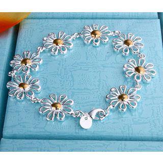 Gorący Nowy 925 Srebrny urok Bransoletka Daisy Separacja Piękna dziewczyna Moda Biżuteria Darmowa Wysyłka