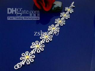 Hot New 925 Silver Charm Armband Daisy Separation Vacker flicka Mode Smycken Gratis frakt