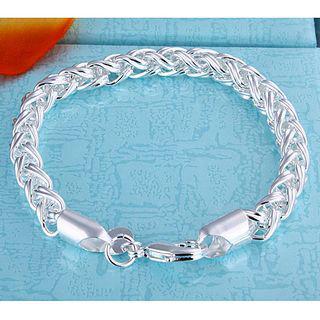 Bästsäljande 925 Silver Twist Ring Charm Bracelet Smycken Unisex Fashion Gratis frakt 10 Stycke / Många