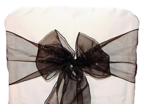 Trasporto libero di alta qualità di 100 fusciacca di organza nera della copertura della sedia dell'arco della banchetto della festa nuziale