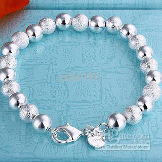 Best-selling 925 silver bead bracelet 8mm luz regalo de vacaciones joyería envío gratis 10piece / lot