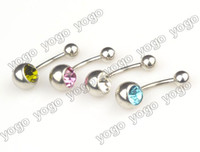 Wholesale Multi Pierced Navels - 50PC 14g Multi-Color Gemmed Belly Rings Navel Bars Piercing Body Jewelry BPJ91 Free Shipping