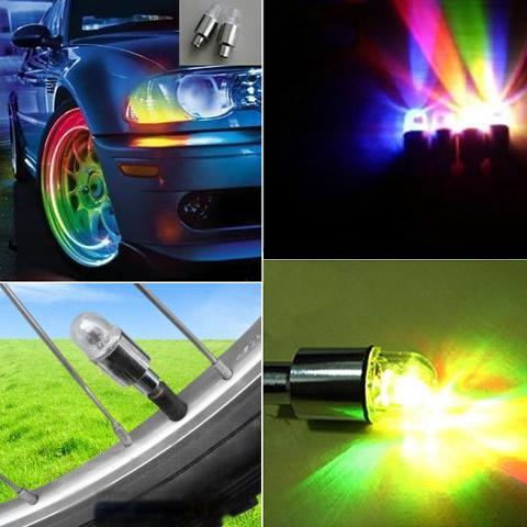 Livraison gratuite voiture / vélo roue pneu valve bouchon flash LED lumière
