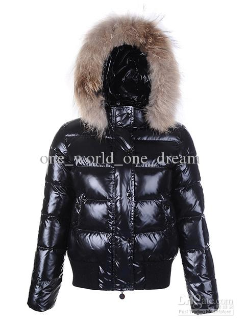 2019 Black And Red Glossy Alpes Fur Hood Quilted Jacket