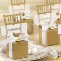 Wholesale wedding gifts bomboniere - 50 pcs Gold Chair Bomboniere Candy Boxes Wedding Favor Gift Box Hot