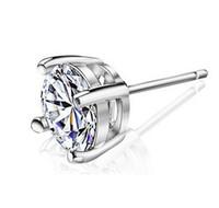 швейцарские алмазные шпильки оптовых-Большой швейцарский Алмаз серьги винтажный стиль 925 стерлингового серебра ювелирные изделия для женщин четыре Коготь мода Алмаз серьги бесплатная доставка