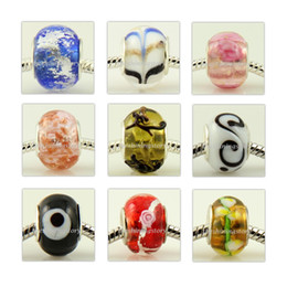 Wholesale Glass Lampwork Beads Cheap Wholesale - assorted color 50pc lot Lampwork glass european chamilia biagi large big hole troll beads fit for charm cheap fashion jewelr5y