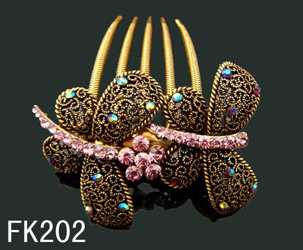 Wholesale Vintage Hair Jewelry Butterfly Zinc alloy rhinestone hair combs hair accessorie Free shipping 12pcs lot mixed color FK202