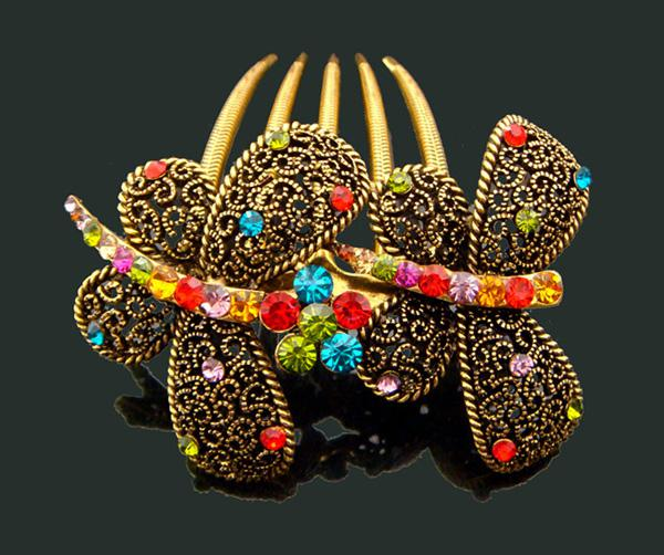Wholesale Vintage Hair Jewelry Butterfly Zinc alloy rhinestone hair combs hair accessorie mixed color FK202