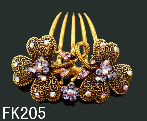 Wholesale 2015 Vintage Hair Jewelry crystal rhinestone peacock hair combs Hair Accessories Free shipping 12pcs lot mixed color FK205