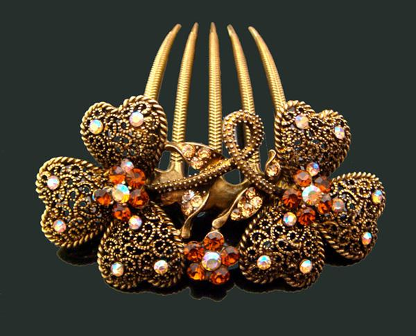 Wholesale 2015 Vintage Hair Jewelry crystal rhinestone peacock hair combs Hair Accessories mixed color FK205