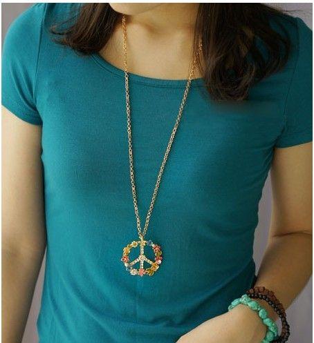 Ny mode anti-krigsskyltar hängsmycke halsband multi färg zircon lång halsband tröja kedja fred tröja halsband MS10