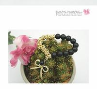 pulseiras de pérola bowknot venda por atacado-Moda Jóias Pulseiras Pulseiras Branco Preto Pearl Bowknot Pulseira
