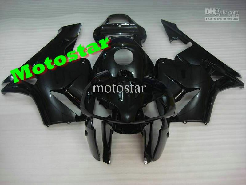 HONDA CBR600RR CBR600 F5 2003 Için saf Siyah Fairings Kiti 2004 03 04 Ücretsiz Nakliye Ücretsiz Cam