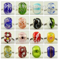 Wholesale Large Hole Glass Beads Wholesale - Pretty 1000pc Murano glass european large big hole troll bead fit for charm bracelets
