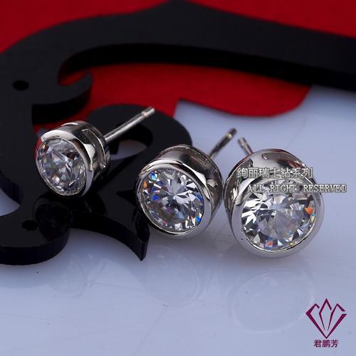 MENS WHITE GOLD Stud Earrings 925 Sterling Silver Ear Jewelry 1/2CT DIAMOND CUBE Zirconia STUDS EARRINGS For Women Men Fashion Jewelry