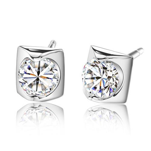 Boucles d'oreilles en argent sterling 925 avec diamants suisses