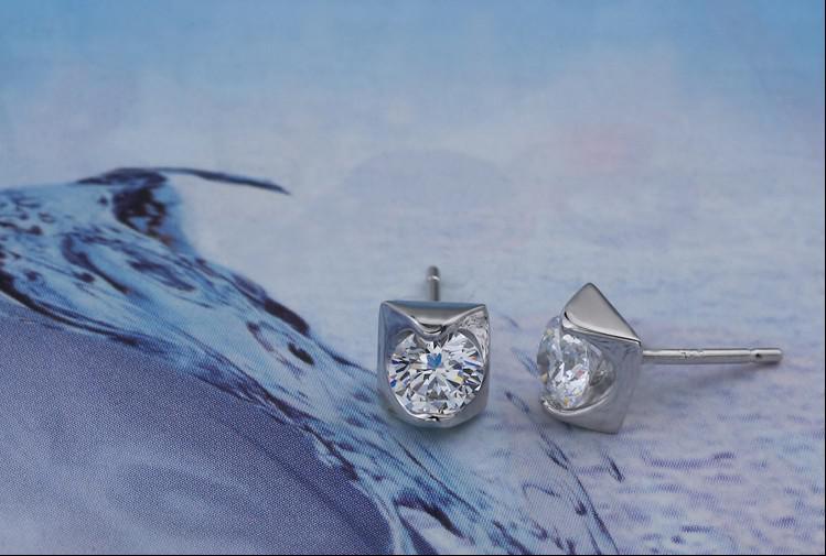 925 스털링 실버 귀걸이 스위스 다이아몬드 스터드 귀걸이 14K 화이트 골드 귀 보석 세트 여성용 결혼 웨딩 쥬얼리 무료 배송