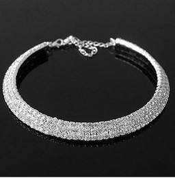 Collane del collare del choker delle donne 925 sterling Silver Shining  Crystal Rhinestone 3 Rows Sposa Wedding Necklace Bridal Jewelry cristallo  collare ... 51b2eedcd250