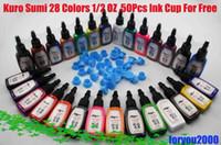Wholesale Tattoo Ink Sets 2oz - Top Kuro Sum 28 Bottles 1 2OZ(15ml) Tattoo Ink 2 Sets Of 14 Colors & 50pcs Ink Cups Kits Supply