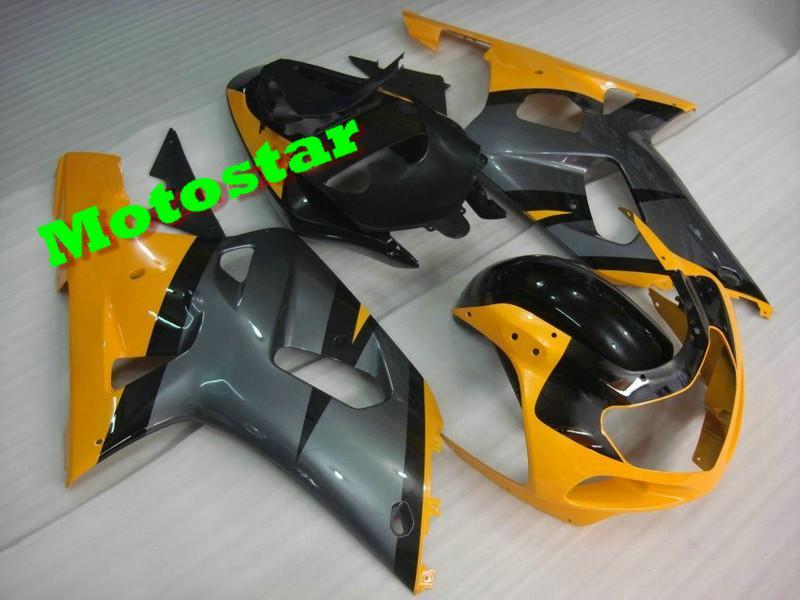 Gula Fairings Set för GSXR 600 750 K1 2001 2002 2003 GSXR600 GSXR750 01 02 03 Gratis vindruta