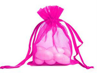 Wholesale Hot Pink Organza Favor Bags - 200 Pcs Hot Pink Organza Gift Bag Wedding Favor Christmas Party Favout 9X12cm