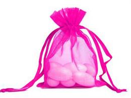 regalos bolsa de botín Rebajas 200 PC Hot Pink Organza Gift Bag Favor de la boda Fiesta de Navidad Favout 9X12 cm
