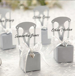 Boîtes À Cadeaux De Chaise Pas Cher-100Pcs Silver Chair Bomboniere Candy Box Wedding Favor Christmas Festive Party Gift Boxes Livraison gratuite Hot