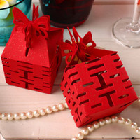 100Pcs Mariage Papillon Red Candy Box DIY Chinois