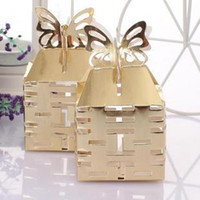 100 Pcs Wedding Candy Box Gold Butterfly Chinois