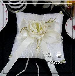 Wholesale Pillow For Wedding Rings - 18cm W* 18cm H Perfect Wedding,Ivory Satin Ring Pillow For Decoration Use 1PCS With Free Shipping