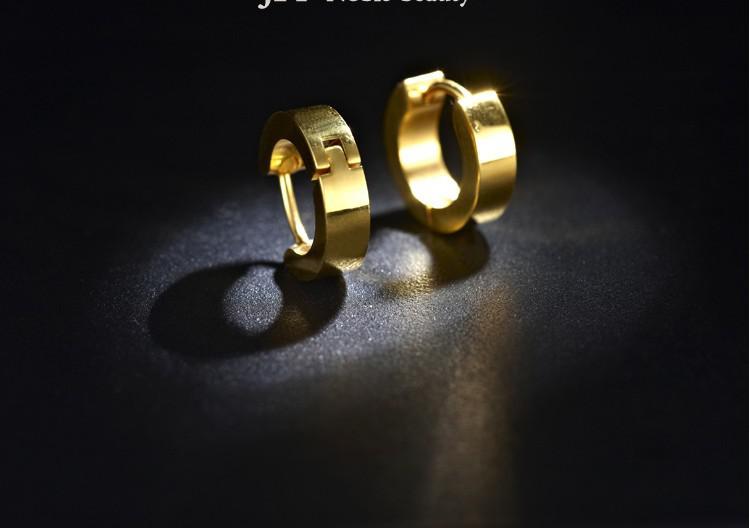 316L Stainless Steel Hoop Earrings Mens GOLD Ear Stud Earring Jewelry Fashion New Body Piercing Jewelry