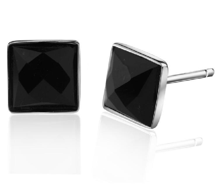 Black Diamond Stud Earrings Gemetric Fashion Korean Women Stud Earrings 925 Sterling Silver Ear Jewelry Chandelier Earrings