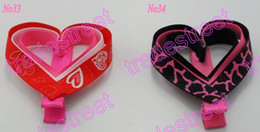 Wholesale Black Heart Hair Clips - free shipping 50pcs mix color Girl hair bow clips love heart for Valentine's day