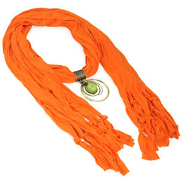 Circle Jewelry Necklace Scarves Canada - Fashion Orange color Women Vintage Jewelry Charm Pendant Scarf Necklace ,with antique brass circle pendant scarf ,NL-1621
