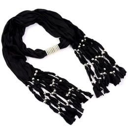 Circle Jewelry Necklace Scarves Canada - Black scarf jewelry beads pendant black scarf necklace with long beads charm tassel jewelry element ,NL-1440E