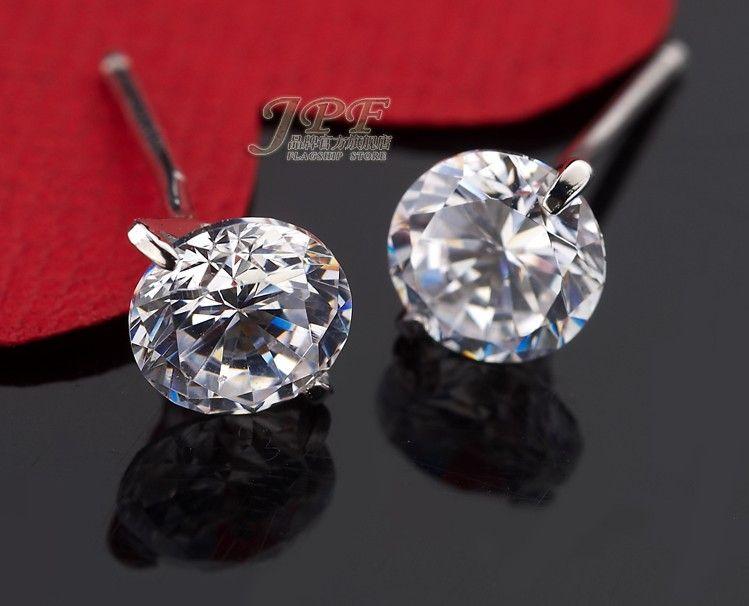 0.8ct Diamond Stud Earrings 6mm Silver Round Ball Pave Beads Gray Crystal Stud Earrings Women Boho Jewelry Earrings