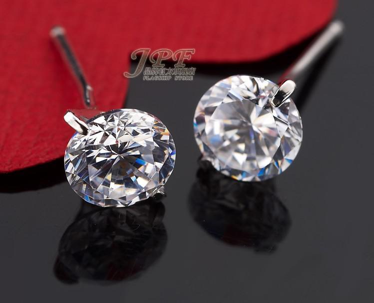 0,8ct Diamond Stud Örhängen 6mm Silver Round Ball Pave Pärlor Grå Crystal Stud Örhängen Kvinnor Boho Smycken Örhängen