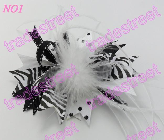 mix color fashion boutique girl hair bows feather bows popular baby hair clips