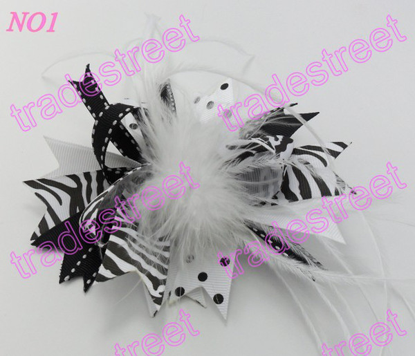 free shipping 35pcs mix color fashion boutique girl hair bows feather bows popular baby hair clips