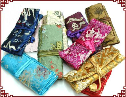 Fold out Roll up Cosmetic Toiletry Bag Silk Fabric Zippered String 10pcs/lot Mix Color