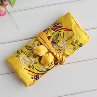 Wholesale Jewellery Silk Pouches - Personalized Jewellery Rolls 10pcs Mix Color 11*7 inch Silk Embroidered Zipper Rope Necklace Pouch
