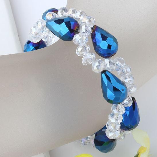魅力的!クリスタルブレスレットブルードロップクリスタルガラスビーズ織りストレッチブレスレット送料無料NF235
