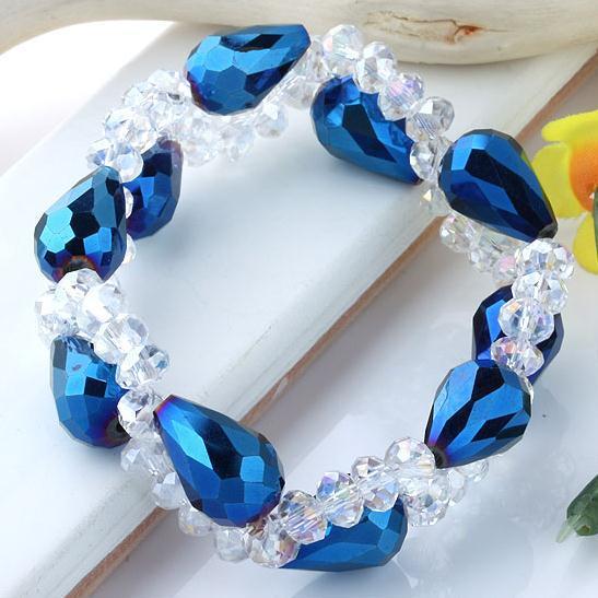 Büyüleyici! Kristal bilezik Mavi Damla Kristal Cam boncuk örgü streç bilezik Ücretsiz kargo NF235