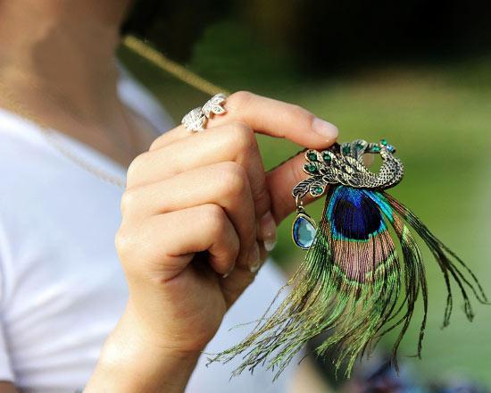 Unique Peacock rhinestone pendant Long Natural Feather necklace/bib necklace 50pair/lot