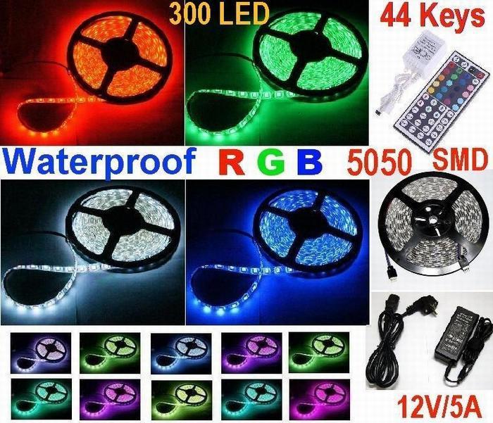 20m - 5050 SMD 300led Tira de luces LED RGB flexible Tiras de led impermeables + 44 teclas Control remoto IR + Adaptador de corriente 12v 5a
