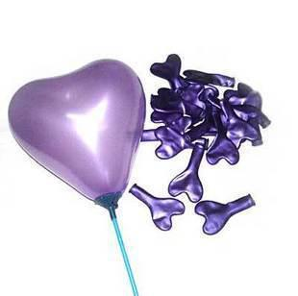 100Pcs Purple Heart Shape Latex Balloon + 100Pcs Stick & Cup + Inflator Pump Wedding Home Decoration Party Supplies